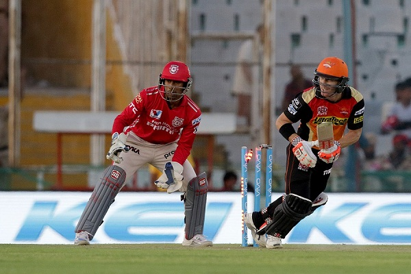 Sunrisers Hyderabad captain David Warner get hit wicket out during match 46 of the Vivo Indian Premier League ( IPL ) 2016 between the Kings XI Punjab and the Sunrisers Hyderabad held at the IS Bindra Stadium, Mohali, India on the 15th May 2016 Photo by Rahul Gulati / IPL/ SPORTZPICS